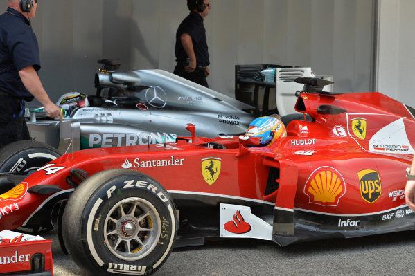 Fernando Alonso (ESP) Ferrari F14 T in parc ferme. Formula One World Championship, Rd5, Spanish Grand Prix, Qualifying, Barcelona, Spain, Saturday 10 May 2014.