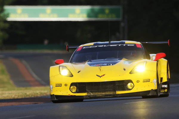2017 Le Mans 24 Hours Circuit de la Sarthe, Le Mans, France. Thursday 15th June 2017 #64 Corvette Racing-GM Chevrolet Corvette C7.R: Oliver Gavin, Tommy Milner, Marcel Fassler  World Copyright: JEP/LAT Images