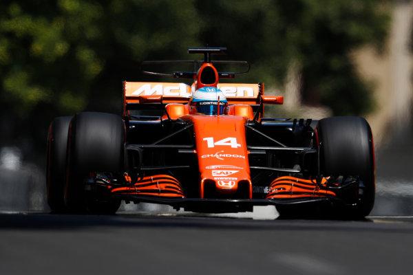 Baku City Circuit, Baku, Azerbaijan. Friday 23 June 2017. Fernando Alonso, McLaren MCL32 Honda. World Copyright: Glenn Dunbar/LAT Images ref: Digital Image _X4I9983