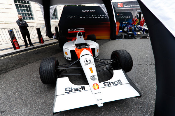 F1 Live London. London, United Kingdom. Wednesday 12 July 2017. A 1991 McLaren Honda MP4/6 under an awning ahead of the London Formula 1 street parade. World Copyright: Glenn Dunbar/LAT Images ref: Digital Image: _31I9143