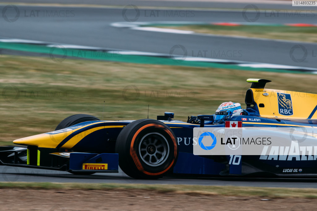 2017 FIA Formula 2 Round 6. Silverstone, Northamptonshire, UK. Sunday 16 July 2017. Nicholas Latifi (CAN, DAMS).  Photo: Malcolm Griffiths/FIA Formula 2. ref: Digital Image MALC7735