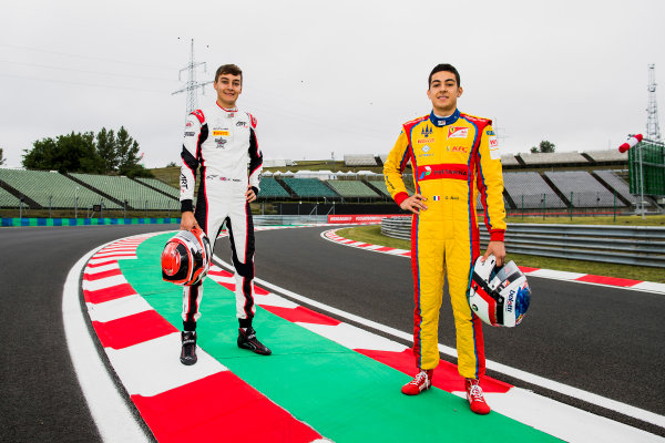 2017 GP3 Series Round 4.  Hungaroring, Budapest, Hungary. Thursday 27 July 2017. George Russell (GBR, ART Grand Prix) and Giuliano Alesi (FRA, Trident).  Photo: Zak Mauger/GP3 Series Media Service. ref: Digital Image _56I0091