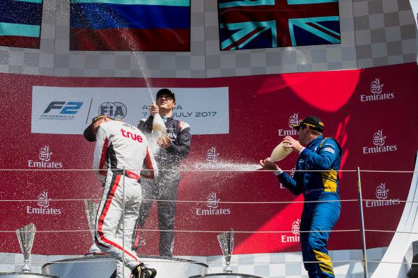 2017 FIA Formula 2 Round 5. Red Bull Ring, Spielberg, Austria. Sunday 9 July 2017. Alexander Albon (THA, ART Grand Prix), Artem Markelov (RUS, RUSSIAN TIME) and Oliver Rowland (GBR, DAMS).  Photo: Zak Mauger/FIA Formula 2. ref: Digital Image _54I0386
