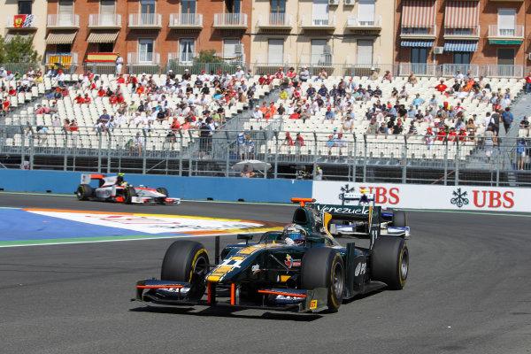 Valencia Street Circuit, Valencia, Spain.  24th June 2012. Sunday Race. Rodolfo Gonzalez (VEN, Caterham Racing). Action. Photo: Andrew Ferraro/GP2 Media Service. Ref: Digital Image _Q0C9873.jpg