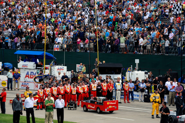1-2 June, 2012, Detroit, Michigan, USAThe team of Helio Castroneves (#3) and crowd during the National Anthem.(c)2012, F. Peirce WilliamsLAT Photo USA