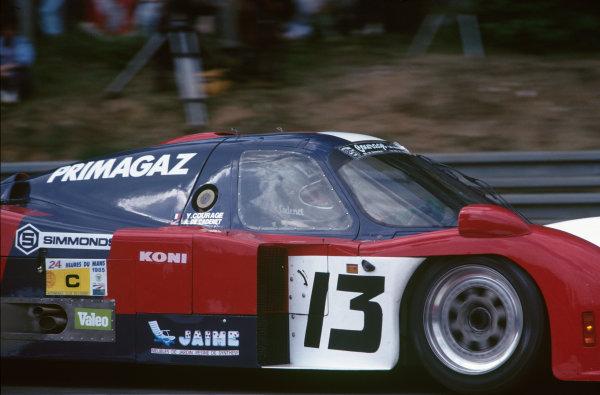Le Mans, France. 15th -16th  June 1985.Yves Courage/Alain de Cadenet/Jean-Franois Yvon (Cougar C12 Porsche), 20th position, action. World Copyright: LAT Photographic.Ref:  85LM31