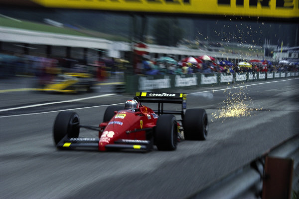 Gerhard Berger, Ferrari F1-87, with sparks flying.