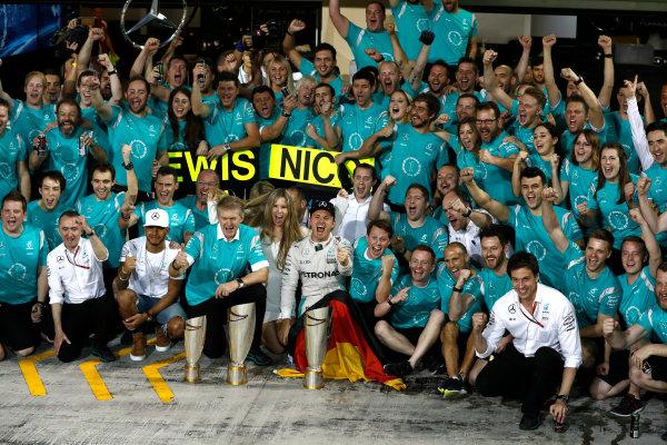 Yas Marina Circuit, Abu Dhabi, United Arab Emirates. Sunday 27 November 2016. Nico Rosberg, Mercedes AMG, 2nd Position, celebrates becoming World Champion with his team, family and friends. World Copyright: Glenn Dunbar/LAT Photographic ref: Digital Image _X4I5963
