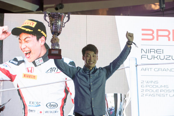 2017 Awards Evening. Yas Marina Circuit, Abu Dhabi, United Arab Emirates. Sunday 26 November 2017. Nirei Fukuzumi (JPN, ART Grand Prix).  Photo: Zak Mauger/FIA Formula 2/GP3 Series. ref: Digital Image _56I3626
