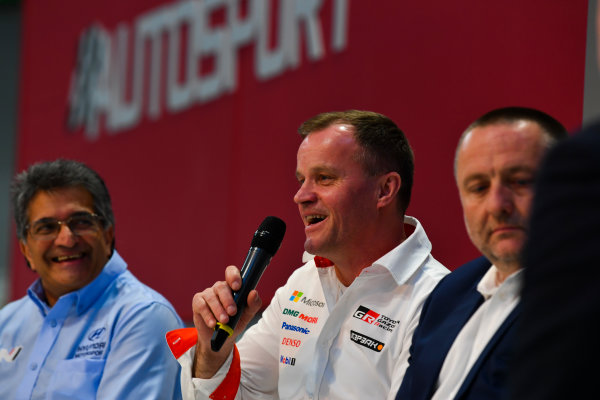 Autosport International Exhibition. National Exhibition Centre, Birmingham, UK. Thursday 11th January 2018. Michel Nandan, Tommi Makinen and Yves Matton talk to Henry Hope-Frost on the Autosport Stage. World Copyright: Mark Sutton/Sutton Images/LAT Images Ref: DSC_6656