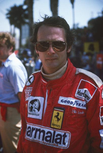 Long Beach, California, USA. 26th - 28th March 1976. Niki Lauda (Ferrari 312T), 2nd position, portrait.  World Copyright: LAT Photographic.  Ref: 76LB30.