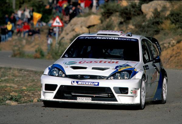 2003 World Rally Championship, Catalunya, Spain, Rd13. 23 - 26 October 2003.Marko Martin, Ford Focus WRC. ActionWorld Copyright: McKlein/LAT PhotographicRef: Transparency 03_WRC_Rd13_05