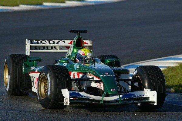 Mark Webber (AUS) Jaguar Racing R3 Formula One Testing , 12 - 15 December 2002Jerez, Spain.DIGITAL IMAGE