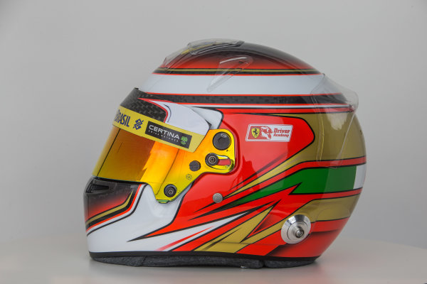 Sauber C34 Reveal. Hinwil, Switzerland. Thursday 29 January 2015. Helmet of Raffaele Marciello. Photo: Sauber F1 Team (Copyright Free FOR EDITORIAL USE ONLY) ref: Digital Image Sauber_2015_Helmet_38