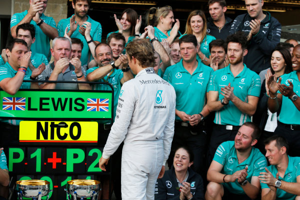 Circuit of the Americas, Austin, Texas, United States of America. Sunday 2 November 2014. Nico Rosberg, Mercedes AMG, 2nd Position, celebrates with his team. World Copyright: Charles Coates/LAT Photographic. ref: Digital Image _N7T5593