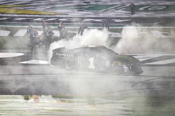 #1: Kurt Busch, Chip Ganassi Racing, Chevrolet Camaro Monster Energy celebrates with a burnout after winning