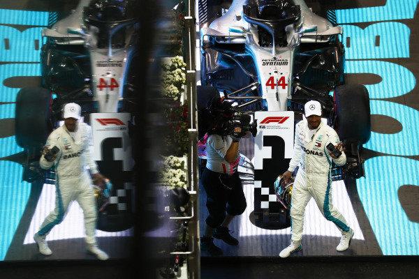 Lewis Hamilton, Mercedes AMG F1 W09 EQ Power+, celebrates after winning the race