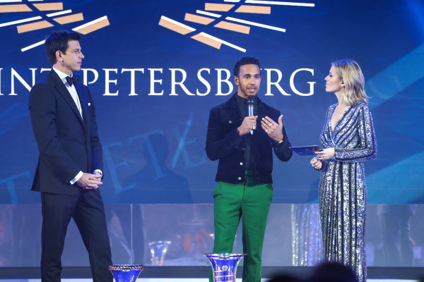 Toto Wolff, Lewis Hamilton on stage with Nicki Shields