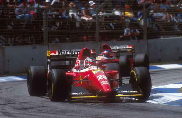 1993 Australian Grand Prix.Adelaide, Australia.5-7 November 1993.Gerhard Berger followed by teammate Jean Alesi (both Ferrari F93A). They finished in 4th and 5th positions respectively.Ref-93 AUS 17.World Copyright - LAT Photographic