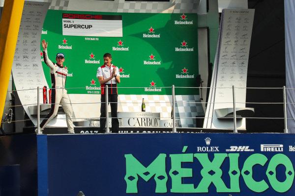 Race winner Matt Campbell (AUS) Fach Auto Tech celebrates on the podium at Porsche Supercup, Rd11 Circuit Hermanos Rodriguez, Mexico City, Mexico, 27-29 October 2017.
