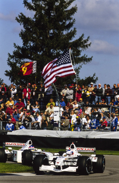 Olivier Panis, BAR 003 Honda, leads Jacques Villeneuve, BAR 003 Honda.