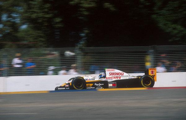 1994 Australian Grand Prix.Adelaide, Australia.11-13 November 1994.Mika Salo (Lotus 109C Mugen-Honda). He exited the race with an electrics problem.Ref-94 AUS 03.World Copyright - LAT Photographic