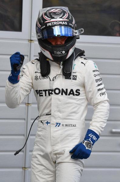 Pole sitter Valtteri Bottas (FIN) Mercedes AMG F1 celebrates in parc ferme at Formula One World Championship, Rd9, Austrian Grand Prix, Qualifying, Spielberg, Austria, Saturday 8 July 2017.