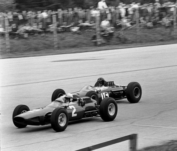 Italian GP, Monza 6 Sept  1964  Winner John Surtees(Ferrari 158) leads Dan Gurney, Brabham BT11