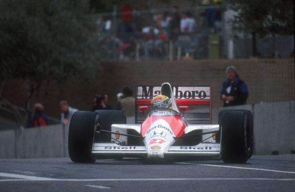 1990 United States Grand Prix.Phoenix, Arizona, USA.9-11 March 1990.Ayrton Senna (Mclaren MP4/5B Honda) 1st position.Ref-90 USA 15.World Copyright - LAT Photographic