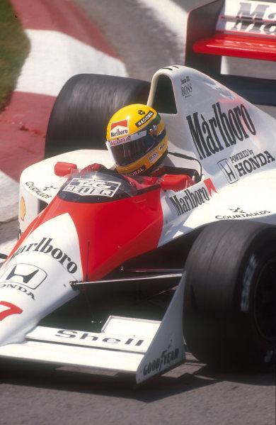 1990 Canadian Grand Prix.Montreal, Canada.8-10 June 1990.Ayrton Senna (McLaren MP4/5B Honda) 1st position.Ref-90 CAN 01.World Copyright - LAT Photographic