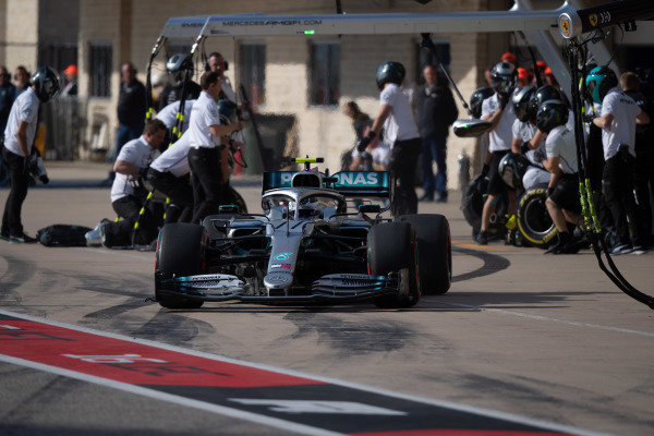 Valtteri Bottas, Mercedes AMG W10, leaves his pit box after a stop during practice