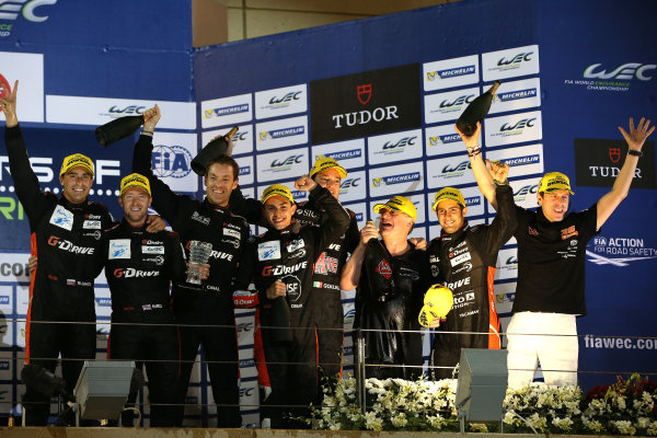2015 FIA World Endurance Championship, Bahrain International Circuit, Bahrain. 19th - 21st November 2015. Romain Rusinov / Julien Canal / Sam Bird G-Drive Racing Ligier JS P2 Nissan and Gustavo Yacaman / Luis Felipe Derani / Ricardo Gonzalez G-Drive Racing Ligier JS P2 Nissan celeberate winning the P2 championship. World Copyright: Jakob Ebrey / LAT Photographic.