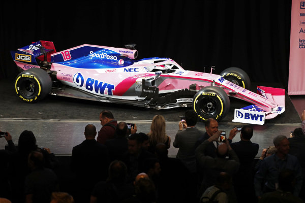 The new SportPesa Racing Point F1 Team RP19 at the SportPesa Racing Point F1 Team Launch in Toronto