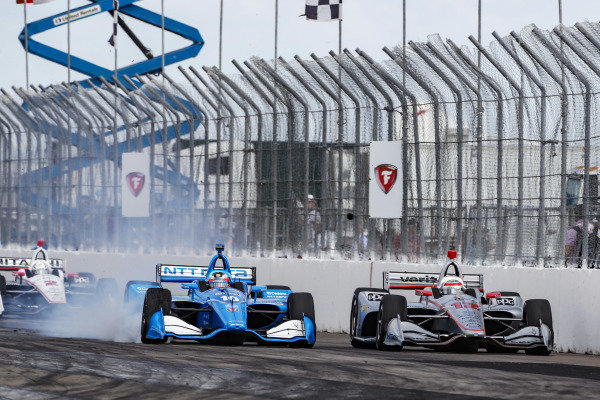 Felix Rosenqvist, Chip Ganassi Racing Honda passes Will Power, Team Penske Chevrolet