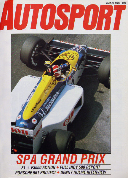 Cover of Autosport magazine, 29th May 1986
