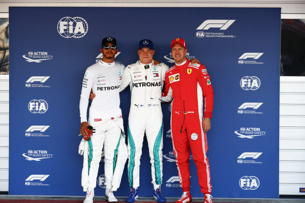 Valtteri Bottas, Mercedes AMG F1, secures pole position, with Lewis Hamilton, Mercedes AMG F1, in 2nd and Sebastian Vettel, Ferrari, in 3rd