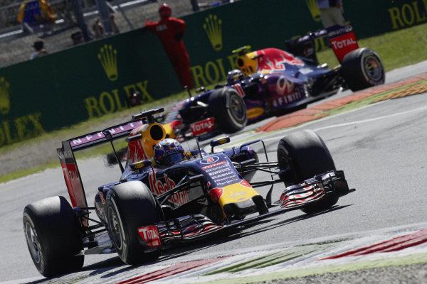 Daniel Ricciardo, Red Bull RB11 Renault, and Daniil Kvyat, Red Bull RB11 Renault.