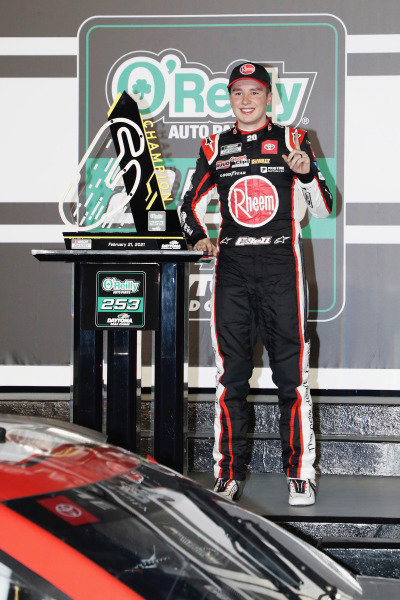 #20: Christopher Bell, Joe Gibbs Racing, Toyota Camry Bass Pro Shops celebrates his win