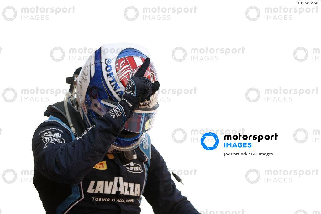Nicholas Latifi (CAN, DAMS), celebrates in Parc Ferme after winning the race