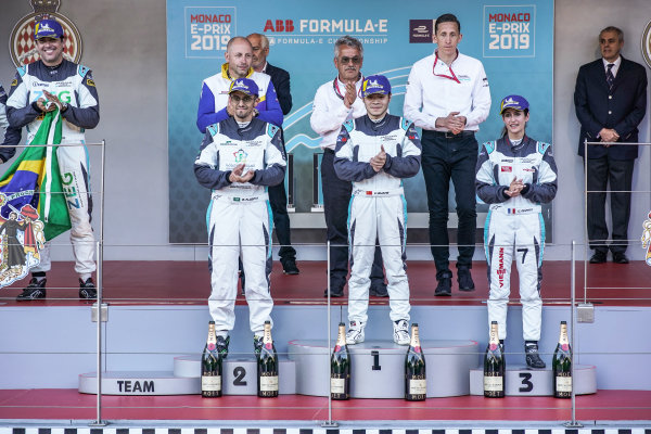 PRO AM podium: Winner Yaqi Zhang (CHI), Team China, Bandar Alesayi (SAU), Saudi Racing, 2nd position, and Célia Martin (FRA), Viessman Jaguar eTROPHY Team Germany, 3rd position