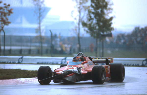 1981 Canadian Grand Prix.Montreal, Quebec, Canada.25-27 September 1981.Gilles Villeneuve (Ferrari 126CK) came 3rd despite the loss of his front wing after running into the back of Arnoux's car on the first lap.Ref-81 CAN 04.World Copyright - LAT Photographic