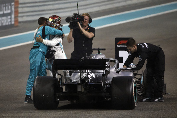 Lewis Hamilton, Mercedes AMG F1, 1st position, celebrates victory with a team mate