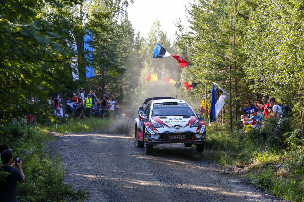 Ott Tanak blasts through the forests in his Toyota Yaris WRC