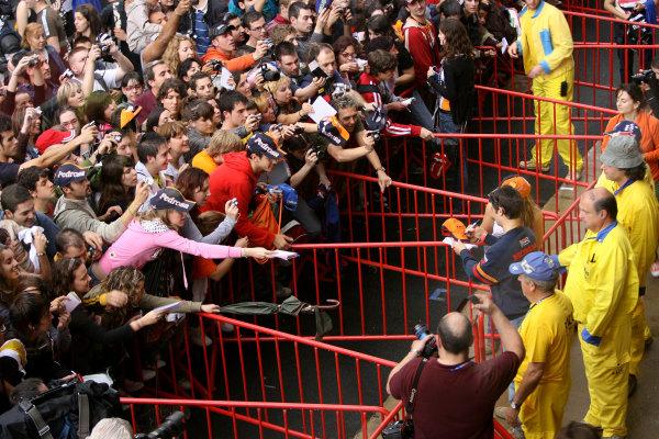 Circuit de Catalunya, Barcelona, Spain.5th June 2008.Crush barriers keep the Spanish Fans back from home favourite Dani Pedrosa Repsol Honda Team.World Copyright: Martin Heath / LAT Photographicref: Digital Image Only