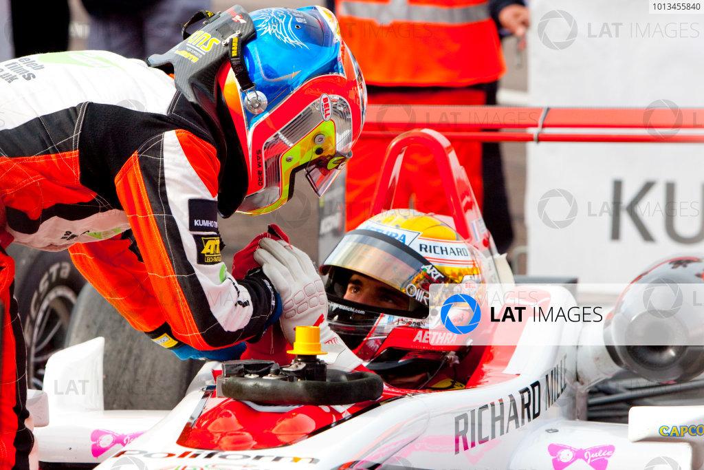 Dijon - Prenois, France. Sunday 11th October. Sam Bird (MŸcke Motorsport Dallara F308 / Mercedes) and Jules Bianchi (ART Grand Prix Dallara F308 / Mercedes).World Copyright: Alastair Staley/LAT Photographic.Ref: _O9T9636 jpg