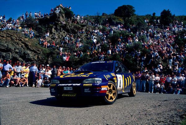 Tour de Corse, Corsica. 3rd - 5th May1995.Colin McRae/Derek Ringer (Subaru Impreza 555), 5th position, action.World Copyright: LAT PhotographicRef: 35mm transparency.