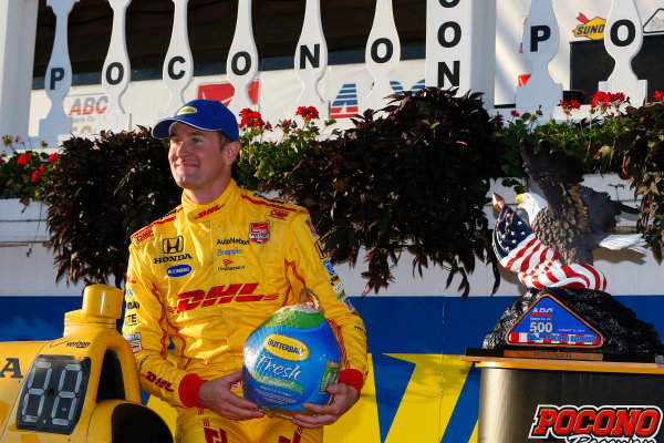 22-23 August, 2015, Pocono, Pennsylvania USA Ryan Hunter-Reay celebrates in victory lane ?2015, Russell LaBounty LAT Photo USA