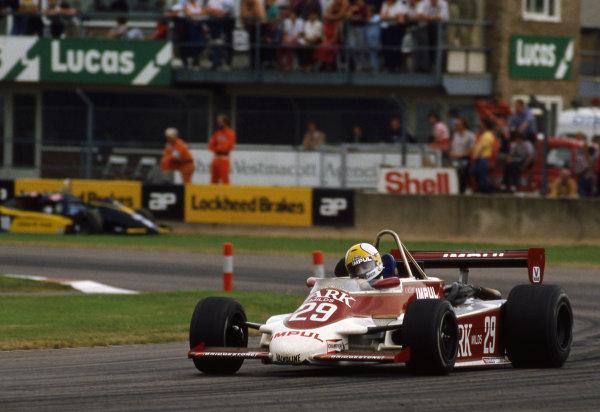 Kazuyoshi Hoshino (JPN) James Gresham Racing, March 832 - BMW/Mader.European Formula 2 Championship, Rd8, Donington Park, England, 25 June 1983.