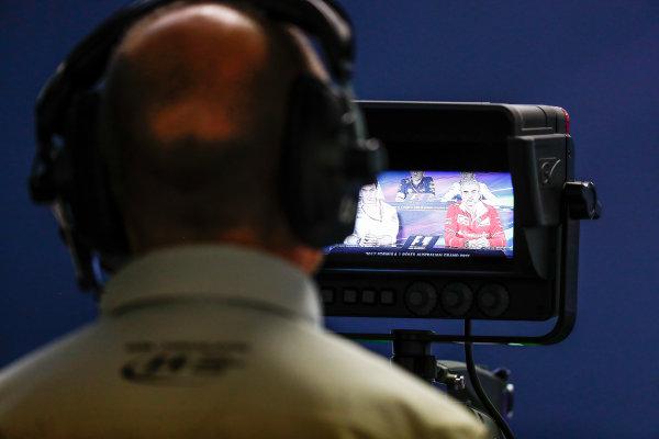 Albert Park, Melbourne, Australia. Friday 24 March 2017. A camera operator frames the Press Conference. World Copyright: Sam Bloxham/LAT Images ref: Digital Image _W6I2444-2