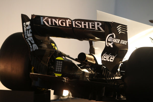 Force India VJM10 Formula 1 Launch. Silverstone, UK. Wednesday 22 February 2017. VJM10 rear wing and exhaust detail.  World Copyright: Hoyer/Ebrey/LAT Images Ref: MDH38283